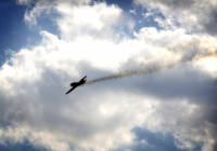Aircraft with smoke in trail